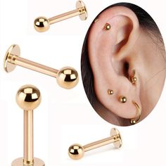 0.99$  Watch more here - Isayoe 2 Piece Gold Labret Ring 16G Spike ball surgical Stainless Steel ball Labret  tragus ear body piercing jewelry   #shopstyle