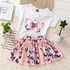 Toddler Baby Girls Butterfly Outfits Clothes Summer T-shirt Skirts Mini 2pcs Set - 4-5yrs