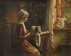 La dentellière. Alois Telarik (Austrian, 1884-1961) «The lacemaker» sur toile de Alois