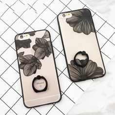 New Flower Phone Case Cover For iPhone 7 Plus For iPhone 6 6S 7 Plus Soft TPU Phone Case Cover With Phone Holder Cases Capa Bags