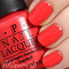 OPI Hawaii Spring 2015, Aloha from Hawaii. Such a bright fruit punch-esque coral that's more pinky/red than orange. So summer; I need!