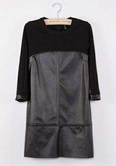 Fashoin Enchating Dizzying Black PU leather Blending round neck Three Quarter Length Sleeve Patchwork Zipper FASHION DRESSES