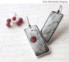 Red and Black Full Moon earrings  Winter jewelry  by BeautySpot, $22.00