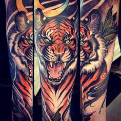 Fierce Tiger by Samantha Smith Fire Tattoo, Snake Tattoo, Cat Tattoo, Elbow Tattoos, Sleeve Tattoos, Body Art Tattoos, Cool Tattoos, Tatoos, Tattoo Ideas