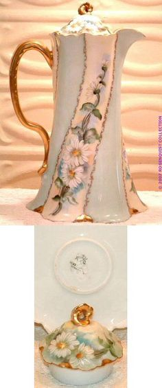Hand Painted Bavarian China Rosenthal Chocolatier or Cocoa Pot, Circa 1900