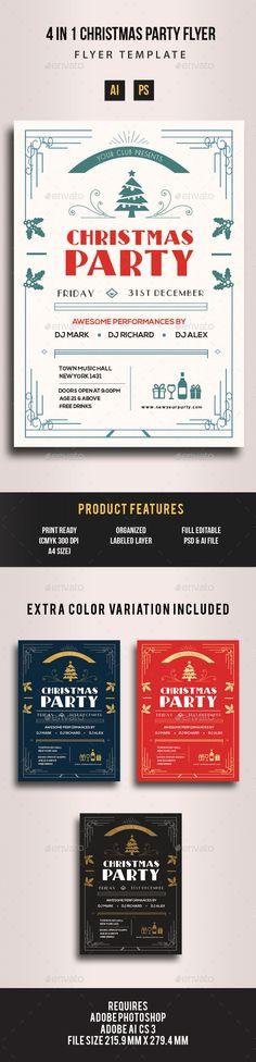 4 in 1 Christmas Art Deco Flyer Vector Template EPS, AI #design #xmas Download:
