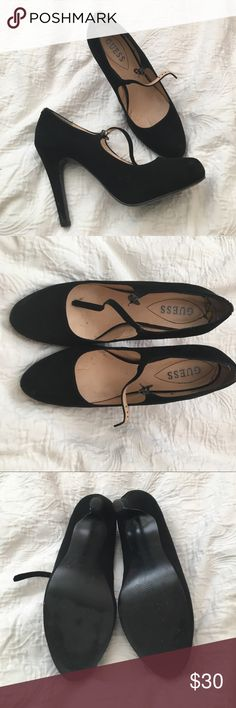 Black guess heels with strap size 9 faux suede Black guess heels. Size 9. The bottoms are in awesome condition. Faux suede material. The inside is in good condition as well a little marks here and there. Strap closure in the front. Guess Shoes Heels