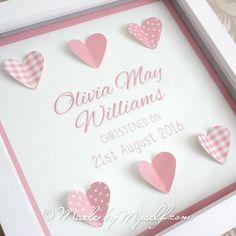 Personalised Christening Gift - Framed Hearts - Girl