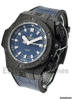 6ce333602 Hublot King Power Big Bang Oceanographic 4000 - Carbon Fiber on Blue  Leather Strap with Black Dial