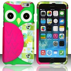 """myLife Leaf Green and Hot Pink {Cartoon Owls Cute Colorful} 2 Piece Snap-On Rubberized Protective Faceplate Case for the NEW iPhone 6 (6G) 6th Generation Phone by Apple, 4.7"""" Screen Version """"All Ports Accessible"""" myLife Brand Products http://www.amazon.com/dp/B00U0N6H72/ref=cm_sw_r_pi_dp_Jfhfvb1NKBJYD"""