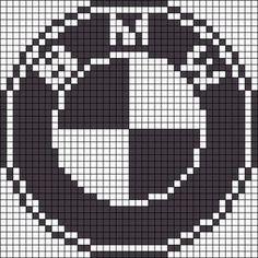 BMW logo x-stitch Pixel Art Marque, Hama Beads Patterns, Beading Patterns, Friendship Bracelet Patterns, Friendship Bracelets, Plastic Bead Crafts, Logo Bmw, Modele Pixel Art, Brand Names And Logos