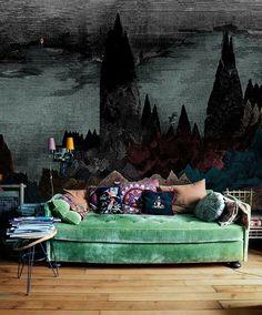 Green velvet couch The wall packaged hues My Bohemian Home ~ Living Rooms Bohemian House, Bohemian Living, Bohemian Style, Modern Bohemian, Bohemian Interior, Boho Chic, Dark Bohemian, Vintage Bohemian, Bohemian Art
