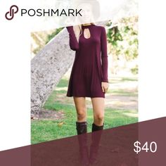 Pre-order Burgundy keyhole dress. Super cute burgundy keyhole dress. Perfect for fall. Comment a  size if you want one reserved when they come no. 😊 Dresses Midi