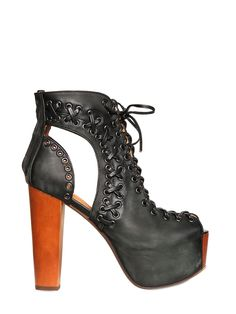 JEFFREY CAMPBELL -  LITA LEATHER CUTOUT OPEN TOE BOOTS