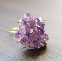 Amethyst Crystal Druzy Ring OOAK by friedasophie on Etsy