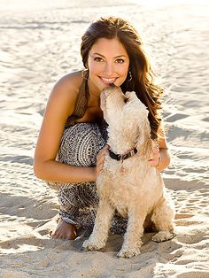 Minka kelly and her 7 year old cockapoo named Chewy.