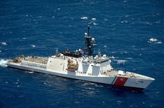 Coast Guard Cutter Stratton, the third national security cutter, steams in…