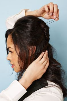 The Prettiest Mid-Length DIY Ever. French twist half up style with volume