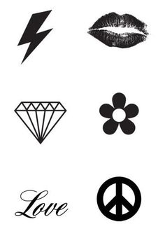 Miniature Black Tattoos - 6 Tattoos Per Sheet   For a more subtle or discrete look try our Mini Black Temporary Tattoos. You get 6 symbols or icon tattoos per s