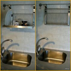 Dish rack installed above the sink. From IKEA.