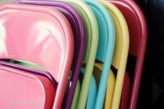 Spray-painted folding chairs. Improve a cheap garage sale find!