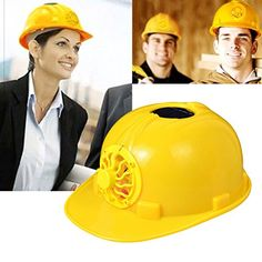 Sinuote Yellow Hardhats Solar Powered Safety Helmet Hard Ventilate Hat Cap with Cooling Cool Fan