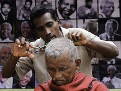 An Indian barber gives a free haircut to a beggar as part of the Nelson Man - The Independent Free Haircut, Nelson Mandela, South Africa, Acting, Couple Photos, Celebrities, Birthday Celebrations, Barber, Indian
