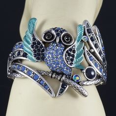 Vintage style blue owl bracelet with crystals