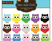 Owl Clip Art - Digital Clip Art - Clipart - BUY 2 GET 2 FREE - Personal & Commercial Use - Style A