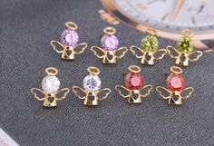 14mm 18K Gold Plated Fashion Angel Inlaid Zircon Ladies Copper Earrings