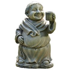A wee monk with a wee mug belongs in every little Irish garden! Measures 12 inches.