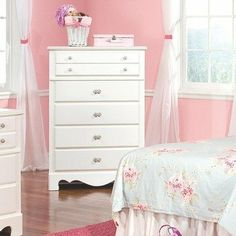 Standard Furniture 50255 Spring Rose 5-Drawer Chest by Standard Furniture. $328.52. Victorian style overlays grace every piece adding a soft and feminine feel.. Beautiful white pearlescent color finish. Dust proofing underneath protects items in drawers from up drafting dust.. Spring Rose has two options of either a panel bed or sleigh bed.. 50255 Features: -Chest.-Classic European victorian style.-Roller side drawers.-Dust proofing underneath.-Surfaces clean easily with a...