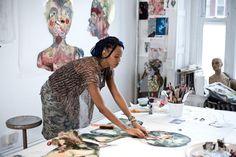 Wangechi Mutu in her studio, New York, Photo: Chris Sanders African American Artist, American Artists, African Art, Atelier Creation, Painters Studio, Exhibition, Black Artists, Art Studios, Artist At Work