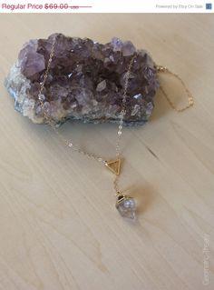 CIJ Sale 24k Gold Trimmed Herkimer Diamond Lariat