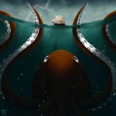 Pulpo by Aburilight Phobias, Kraken, Cthulhu, Detailed Image, Ocean, Deviantart, The Ocean, Sea