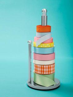 Store ribbon on paper towel holder