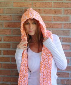 Hooded Scarf  Scoodie  Hand Crocheted Orange & by Blackberrythyme, $40.00