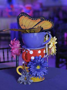 butterflies, teacups, flowers