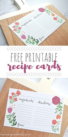 FREE printable 4x6 recipe cards featuring original floral illustration and hand drawn modern calligraphy. Perfect addition to a vintage kitchen.
