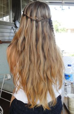 #Hair #Beauty #Love #Gorgeous #Beautiful #Waterfall #Braid #Long #Wavy #Waves #Blonde #Ombre #DirtyBlonde #Brown #Brunette #Hairstyle