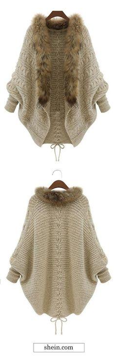 Faux Fur Collar Coat Sweater cardigan Collect.