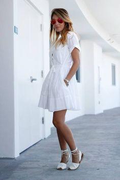 Gap White Adorable Flared Shirt dress