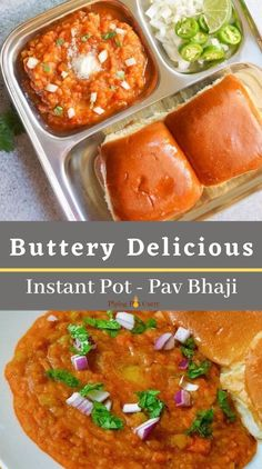 Pav Bhaji is a popular Indian street food which can be made in an Instant Pot! It is made with potatoes and vegetables cooked in a tomato base, and enjoyed with pav or dinner rolls. | Indian Dinner Recipe | Gluten-Free Indian Food | #indianrecipe #indianstreetfood #vegetarianindianrecipe #indianinstantpot | pipingpotcurry.com Curry Recipes, Vegetarian Recipes, Cooking Recipes, Easy Cooking, Potato Recipes, Tea Time Snacks, Instant Pot Pressure Cooker, Pressure Cooker Recipes, One Pot Meals