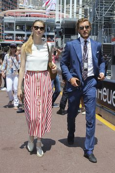 Pierre Casiraghi and Beatrice Borromeo attend the Monaco Formula 1 Grand Prix at the Monaco street circuit, on May 28, 2017 in Monaco.