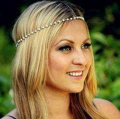 cool jewelry Fresh forest style simple boho chain headdress ,elegant women' chain headband ,party hair accessory beads head chain
