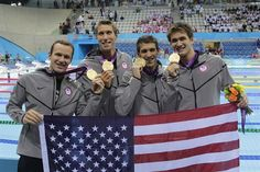 Amazing final Olympics 2012 swim for these guys!!!  (L-R) The U.S.'s Brendan Hansen, Matthew Grevers, Michael Phelps and Nathan Adrian pose with their gold medals from the 4x100m medley relay.