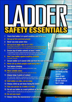 A3 Size Workplace Safety Poster covering the essential basics when using ladders and step ladders.