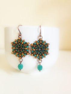 handmade Miyuki seed bead and czech crystals earrings by Craftduck, $20.00