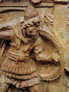 Etruscan urn with a warrior from Chiusi, terracotta, 2nd century BCE. Worcester Art Museum