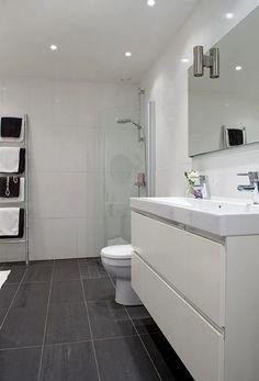 Bathroom - not liking this so much Bathroom Toilets, Bathroom Renos, Bathroom Layout, Bathroom Flooring, Bathroom Renovations, Bathroom Interior, Grey Bathrooms, Modern Bathroom, Small Bathroom